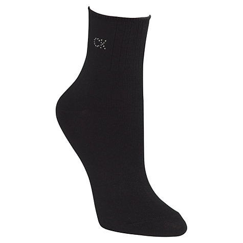 Buy Calvin Klein Soft Touch Crystal Logo Ankle Socks, Black Online at johnlewis.com