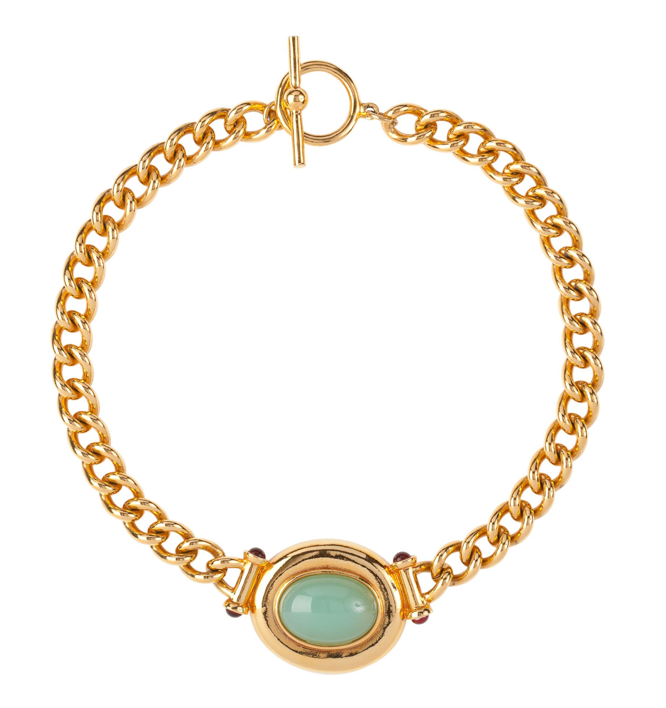 Susan Caplan Vintage 1990s Elizabeth Taylor Luminous Cabochon Necklace, Gold