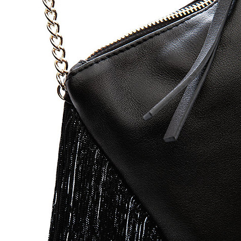 Buy Mango Fringed Leather Bag, Black Online at johnlewis.com