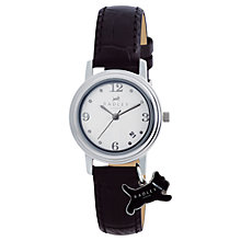 Buy Radley RY2007 Women's Dog Charm Leather Strap Watch, Black/White Online at johnlewis.com
