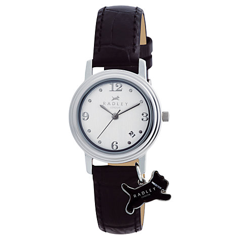 Buy Radley RY2007 Women's Dog Charm Round Watch, Black Online at johnlewis.com