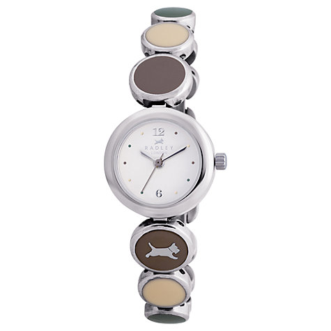Buy Radley RY4025 Women's Stainless Steel Disc Bracelet Watch, Silver / Brown Online at johnlewis.com