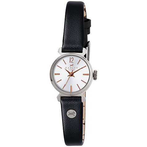Buy Radley RY2107 Women's Slim Leather Strap Round Watch, Black Online at johnlewis.com