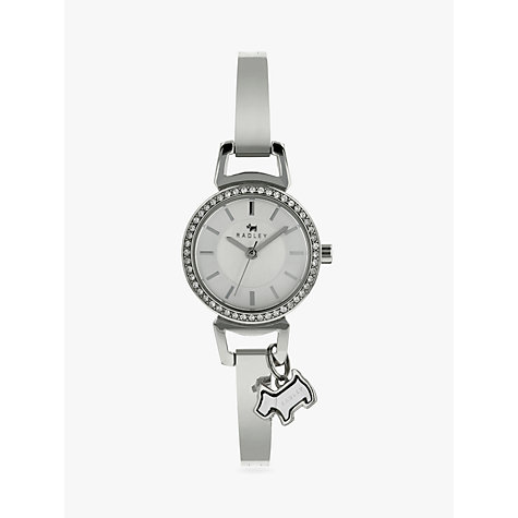 Buy Radley RY4071 Women's Stainless Steel Stone Set Bangle Watch, Silver Online at johnlewis.com