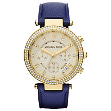Buy Michael Kors MK2280 Women's Diamante Bezel Chronograph Watch, Blue / Gold Online at johnlewis.com