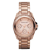 Buy Michael Kors MK5613 Women's Diamante Embellished Single Chronograph Bracelet Strap Watch, Rose Gold Online at johnlewis.com