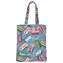 Buy Cath Kidston Luggage Tags Print Cotton Book Bag, Multicoloured Online at johnlewis.com