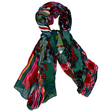 Buy Desigual Printed Scarf, Green Online at johnlewis.com