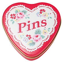 Buy Cath Kidston Heart Pin Tin with Pins, Red Online at johnlewis.com