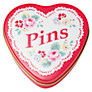 Cath Kidston Heart Pin Tin with Pins, Red