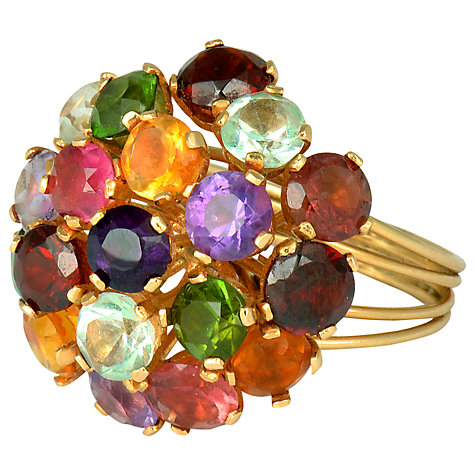 Buy Sharon Mills 18ct Yellow Gold Gemstone Cluster Cocktail Ring, Size M Online at johnlewis.com