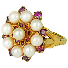 Buy Sharon Mills 9ct Gold Ruby and Cultured Pearl Cocktail Ring, Size R Online at johnlewis.com