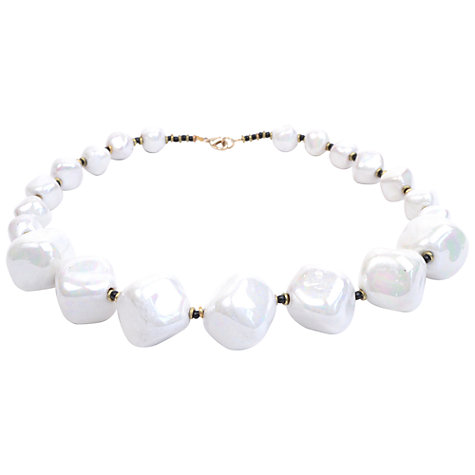Buy Kazuri Ceramic Mother of Pearl Cube Necklace, White Online at johnlewis.com