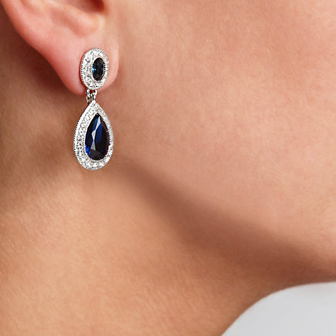 Buy Carolee Faceted Oval Double Drop Earrings, Blue Online at johnlewis.com