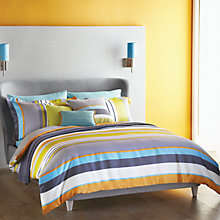 Buy Harlequin Bali Stripe Oxford Pillowcase, Charcoal Online at johnlewis.com