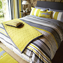Buy Scion Lace Stripe Oxford Pillowcase, Slate Online at johnlewis.com