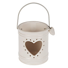 Buy John Lewis Heart Ceramic Tealight Lantern, White Online at johnlewis.com