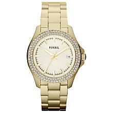 Buy Fossil AM4453 Women's Double Diamante Bezel Watch, Gold Online at johnlewis.com