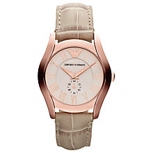 Buy Emporio Armani AR1670 Women's Rose Gold Leather Strap Watch Online at johnlewis.com