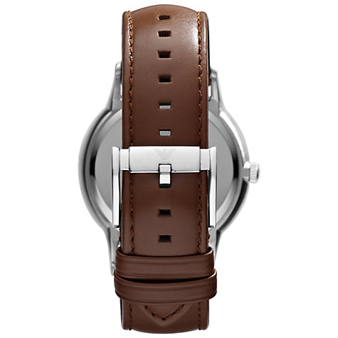 Buy Emporio Armani AR2463 Men's Leather Strap Watch, Brown/Silver Online at johnlewis.com