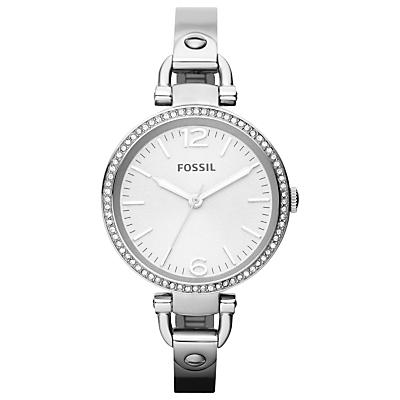 Fossil ES3225 Women's Georgia Diamante Bezel Bracelet Strap Watch, Silver