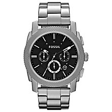 Buy Fossil FS4776 Men's Textured Bezel Chronograph Watch, Silver Online at johnlewis.com