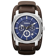 Buy Fossil FS4793 Men's Textured Bezel Chronograph Cuff Watch Online at johnlewis.com