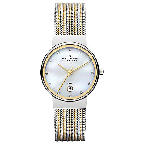 Buy Skagen 355SSGS Women's Two Tone Mother of Pearl Dial Watch Online at johnlewis.com