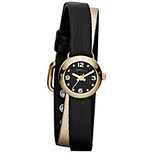 Buy Marc by Marc Jacobs MBM1257 Women's Dinky Wraparound Leather Strap Watch, Black / Gold Online at johnlewis.com