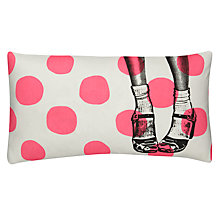Buy La Cerise Sur Le Gateau Clogs and Dots Cushion, Fluorescent Pink Online at johnlewis.com