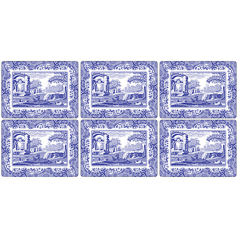 Buy Pimpernel Blue Italian Placemats, Set of 6 Online at johnlewis.com