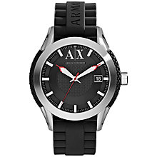 Buy Armani Exchange AX1226 Men's Active Rubber Strap Watch, Black Online at johnlewis.com