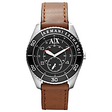Buy Armani Exchange AX1261 Men's Leather Strap Watch, Brown Online at johnlewis.com