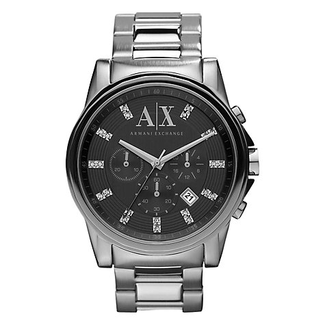 Buy Armani Exchange AX2092 Men's Swarovski Marker Chronograph, Silver Online at johnlewis.com