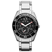 Buy Armani Exchange AX1263 Men's Steel Bracelet Strap Watch, Silver Online at johnlewis.com