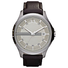 Buy Armani Exchange AX2100 Men's Date Leather Strap Watch, Brown/Silver Online at johnlewis.com
