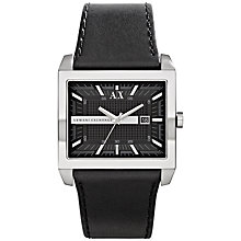 Buy Armani Exchange AX2203 Men's Square Dial Watch, Black Online at johnlewis.com