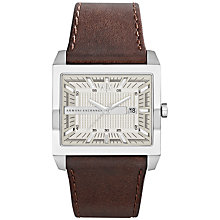 Buy Armani Exchange AX2204 Men's Square Dial Watch, Brown Online at johnlewis.com
