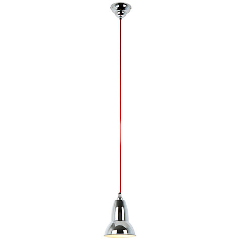 Buy Anglepoise Duo Pendant, Chrome Shade, Red Flex Online at johnlewis.com