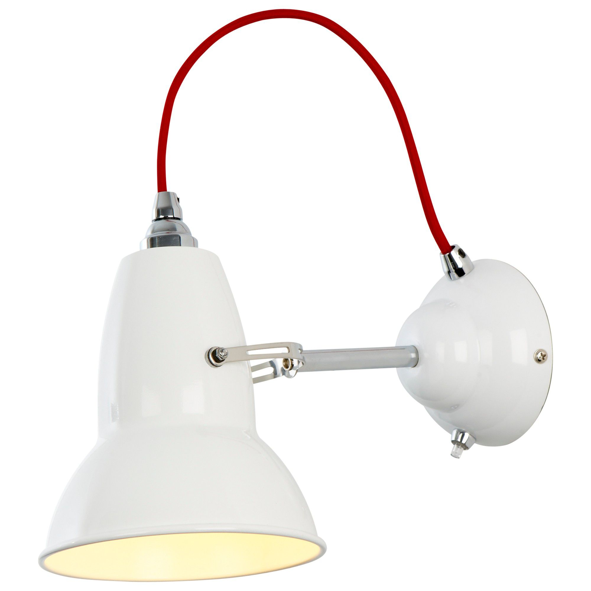 Buy Anglepoise Duo Wall Light, Alpine White with Red Braided Cable John Lewis