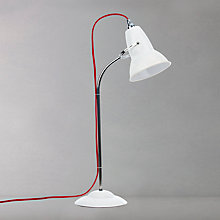 Buy Anglepoise Duo Table Lamp, Alpine White with Red Braided Cable Online at johnlewis.com