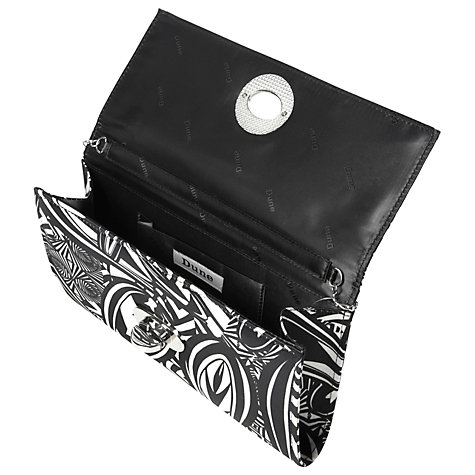 Buy Dune Bugee Geometric Print Satin Clutch Handbag, Black/White Online at johnlewis.com
