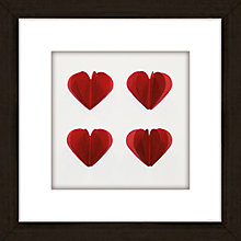 Buy Hearts Red Framed 3D Laser Cut, 24 x 24cm Online at johnlewis.com