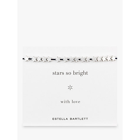 Buy Estella Bartlett Star So Bright Silver Plated Adjustable Cord Friendship Bracelet Online at johnlewis.com