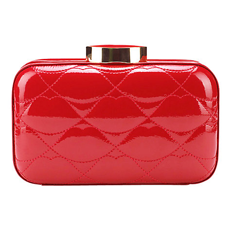 Buy Lulu Guinness Red Quilted Lips Patent Fifi Clutch, Red Online at johnlewis.com