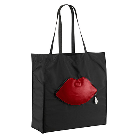 Buy Lulu Guinness Foldaway Lips Tote Bag, Black Online at johnlewis.com