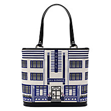 Buy Lulu Guinness Deco Hotel Tote Bag, White / Blue Online at johnlewis.com