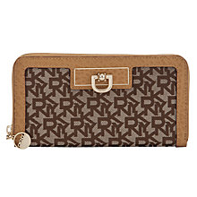 Buy DKNY Town & Country French Grain Zip Around Purse, Tan Online at johnlewis.com