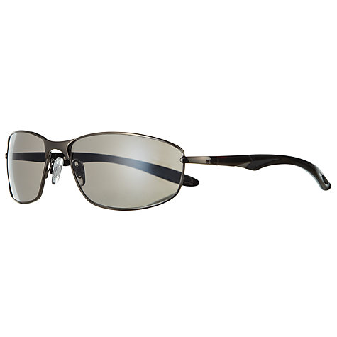 Buy John Lewis Men's Rectangular Metal Sports Sunglasses, Gunmetal Online at johnlewis.com
