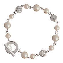 Buy Carolee Faux Pearl and Pave Bead Ball Bracelet, White Online at johnlewis.com